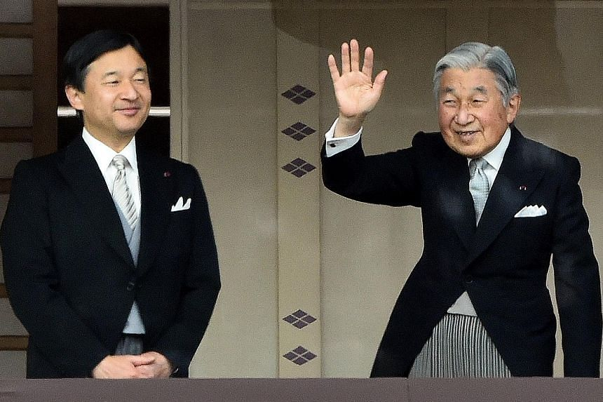 Crown Prince Naruhito and Emperor Akihito on Jan 2, 2015. The Emperor has indicated his desire to step down due to old age.