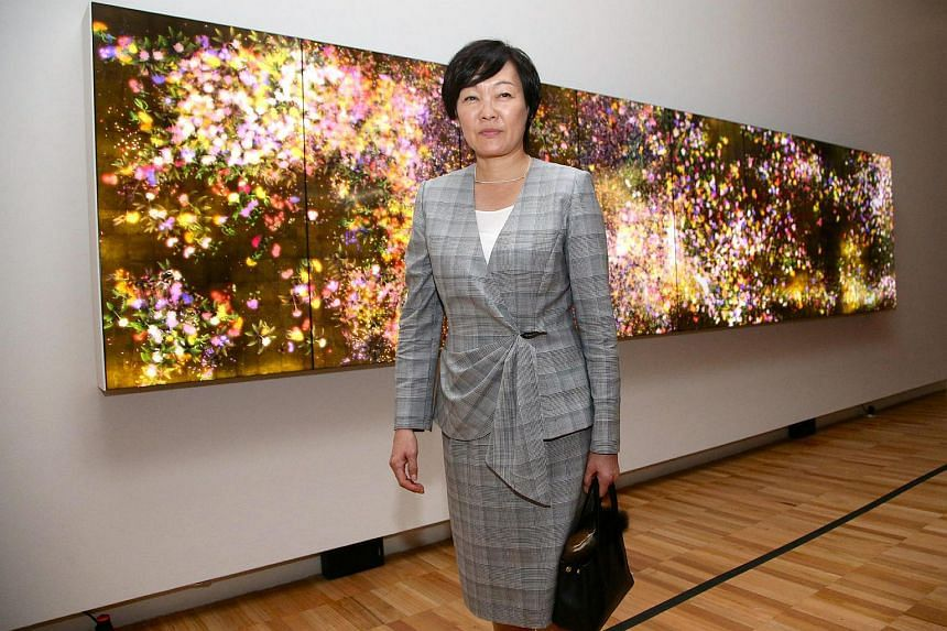 A file photo of Mrs Akie Abe, wife of Japanese Prime Minister Shinzo Abe, walking past an installation from a Japanese artist while visiting the Art Gallery of New South Wales in Sydney, Australia, on Jan 14, 2017.