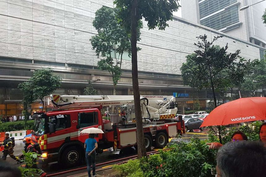 Fire engines were seen outside Shenton House on Friday (Feb 24).