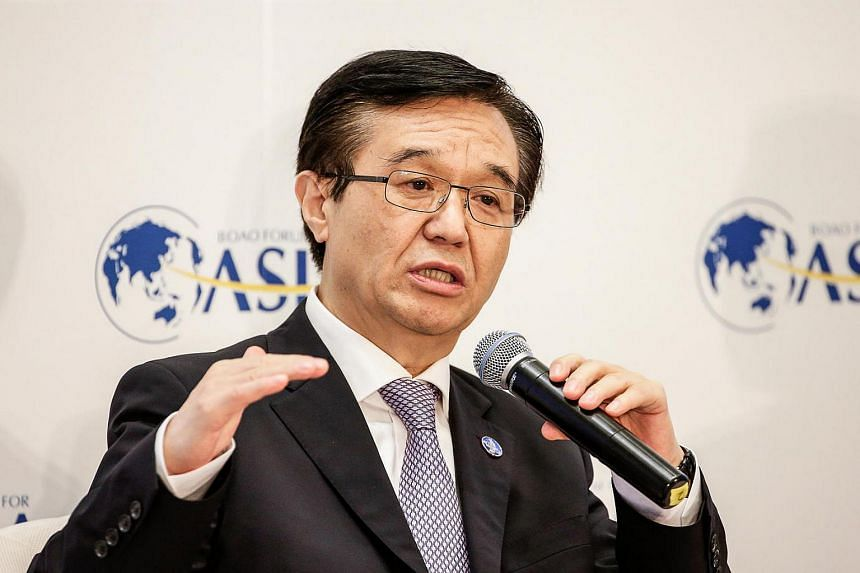 A file photo of Mr Gao Hucheng, China's minister of Commerce, speaking at the Boao Forum For Asia Annual Conference in Boao, China, on March 24, 2016.
