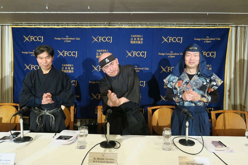 "(From L-R) Mr Jinichi Kawakami, a consultant of the Japan Ninja Council and martial artist who is widely known as the ""last ninja"" in Japan; Mr Hiroshi Mizohata, vice-chairman of the Japan Ninja Council; and Dr Yuji Yamada, who studies ninja traditio"