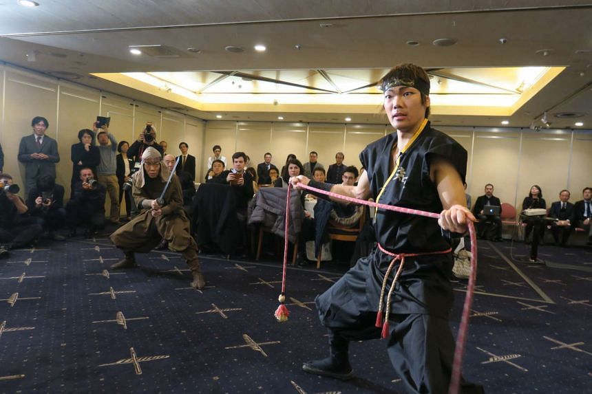 Members of ninja performance troupe Ashura, which is based in Iga City, Mie Prefecture in central Japan, show off their moves.