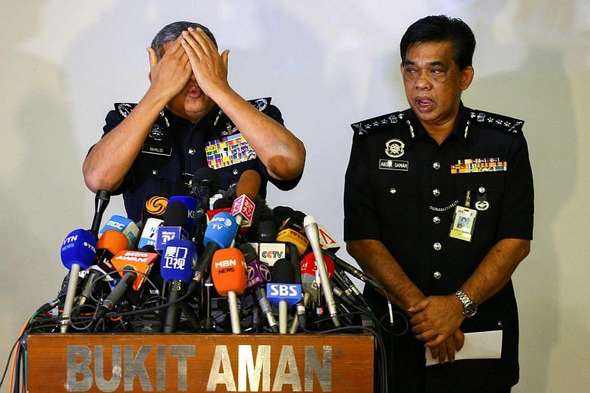 Malaysia's Royal Police Chief Khalid Abu Bakar demonstrates to the media during a news conference regarding the apparent assassination of Kim Jong Nam, on Feb 22, 2017.