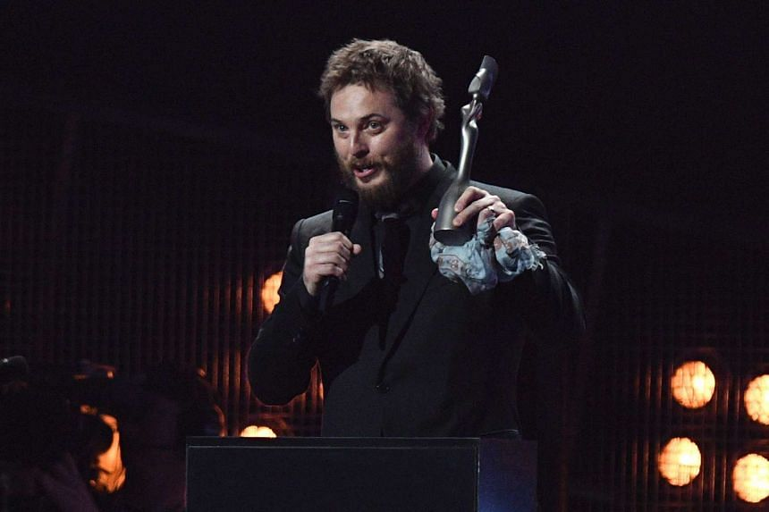 Duncan Jones accepting the award for British Album Of The Year on behalf of his father, David Bowie.
