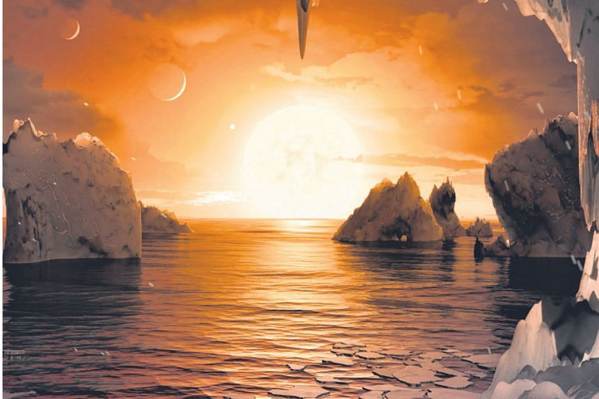 An artist's impression of the surface of one of the planets.