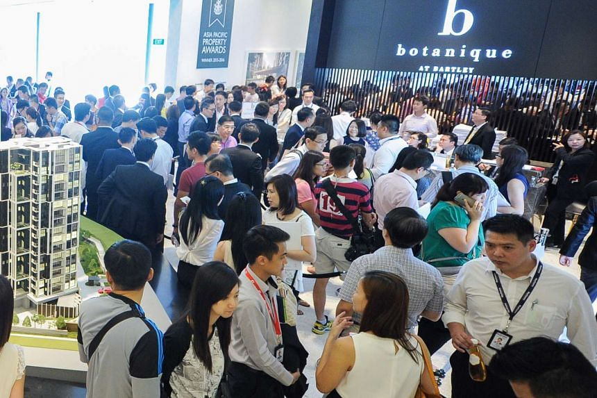 Prospective buyers at the launch of Botanique at Bartley condominium, on April 4, 2015.