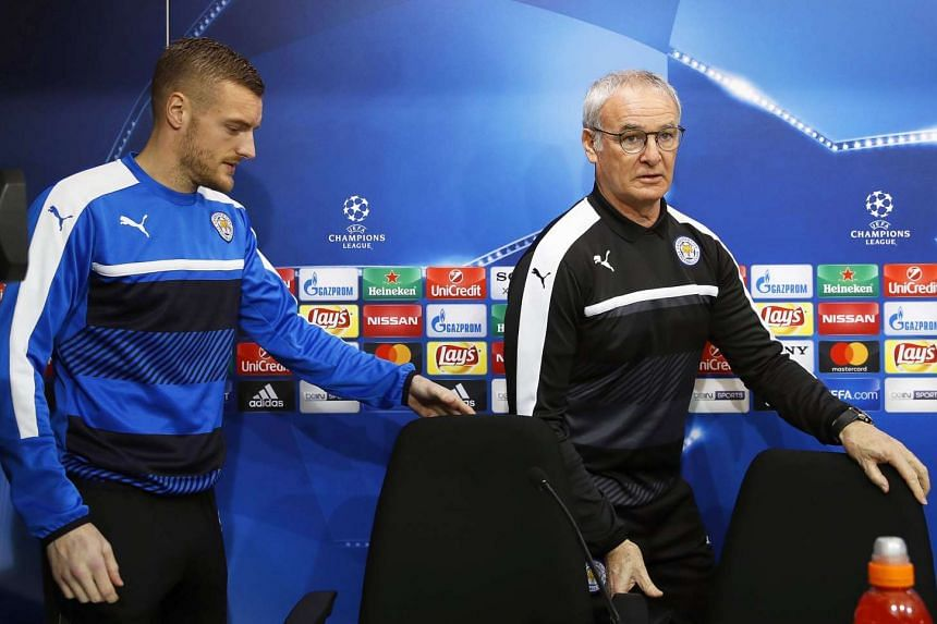 Ranieri (right) and Leicester's Jamie Vardy arrive for a Champions League press conference on Feb 21, 2017.