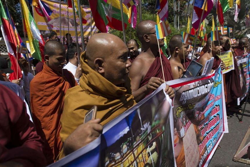 Buddhist nationalists take part in a rally outside the Thai embassy in Yangon on Feb 24, 2017.