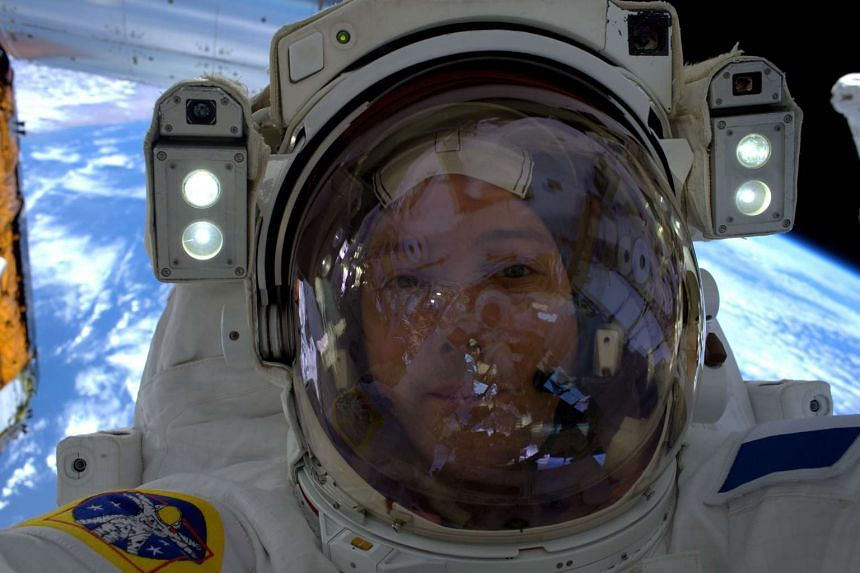 French astronaut Thomas Pesquet takes a selfie on his first spacewalk outside the International Space Station on Jan 13, 2017.