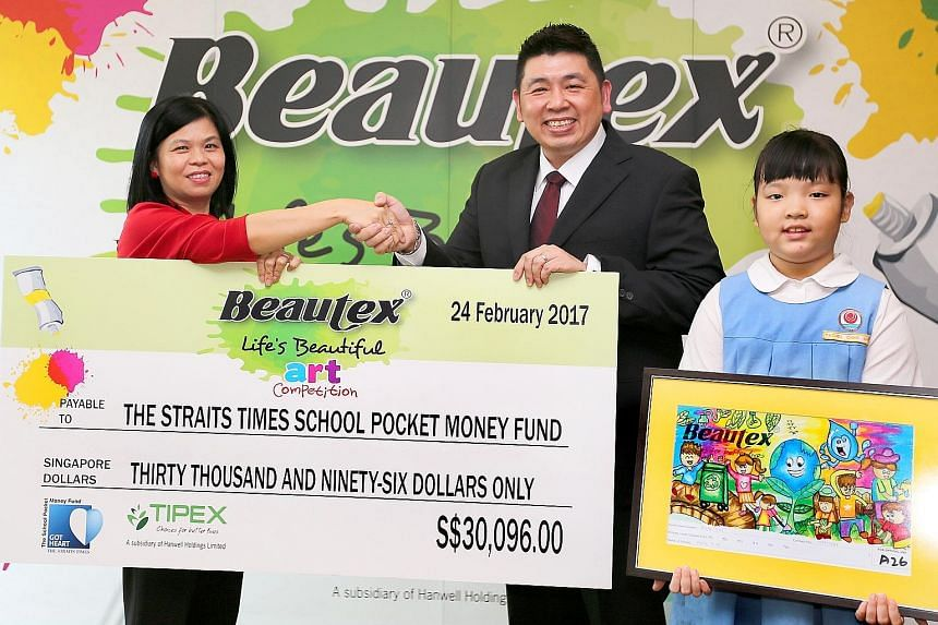 Ms Tan of The Straits Times School Pocket Money Fund receiving the cheque yesterday from Tipex's Mr Sim at Tipex's office. Also present was Keming Primary's Rachel Chng, showing her winning entry.
