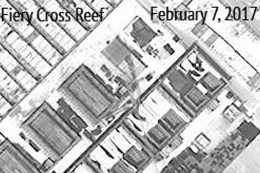 Satellite images, released on Wednesday, showing what seem to be concrete structures with retractable roofs on Subi Reef (left) and Fiery Cross Reef (above).