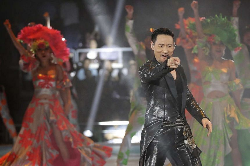 Jacky Cheung performing at the Singapore Indoor Stadium on Feb 24, 2017.