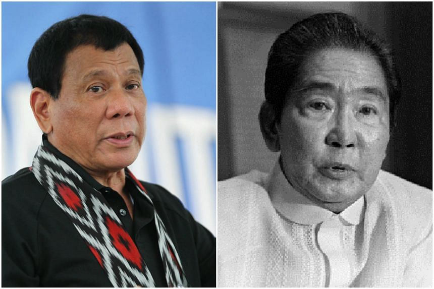 Rodrigo Duterte (left) has ranked Ferdinand Marcos (right) as one of the country's best-ever presidents.