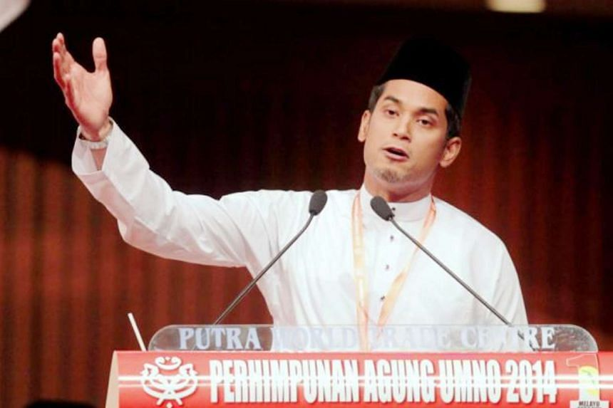 Umno Youth chief Khairy Jamaluddin giving speech during Umno's general assembly on Dec 9, 2015.