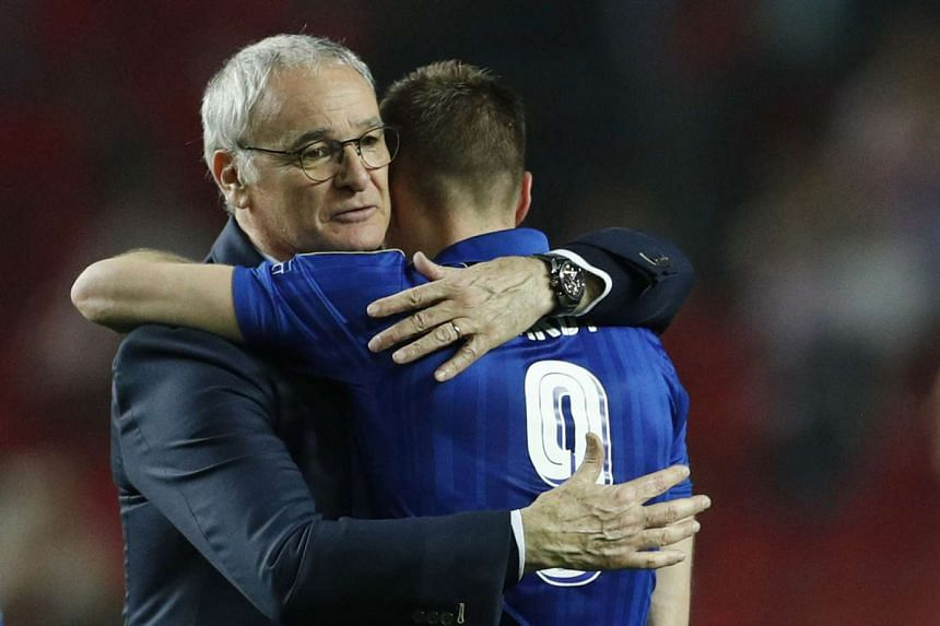 Leicester City's Jamie Vardy and manager Claudio Ranieri after the Champions League match against Sevilla on Feb 22, 2017.