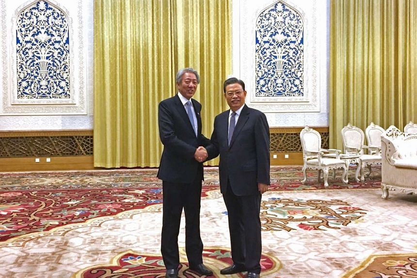 Deputy Prime Minister Teo Chee Hean meets Mr Zhao Leji, head of the Organisation Department of the Chinese Communist Party (CCP), at the Great Hall of the People on Feb 26, 2017.