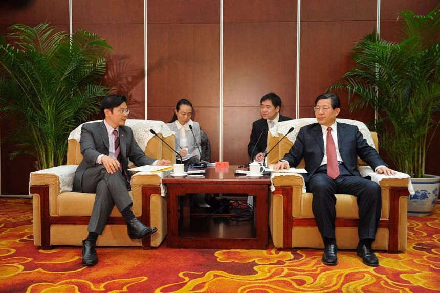 Minister for National Development and Second Minister for Finance Lawrence Wong and Tianjin Mayor Wang Dongfeng met on Sunday (Feb 26) in Beijing.