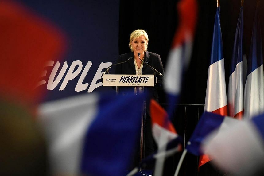 French presidential election candidate for the far-right Front National (FN) party, Marine Le Pen speaks during a public rally on Feb 24, 2017, in Pierrelatte, central eastern France.