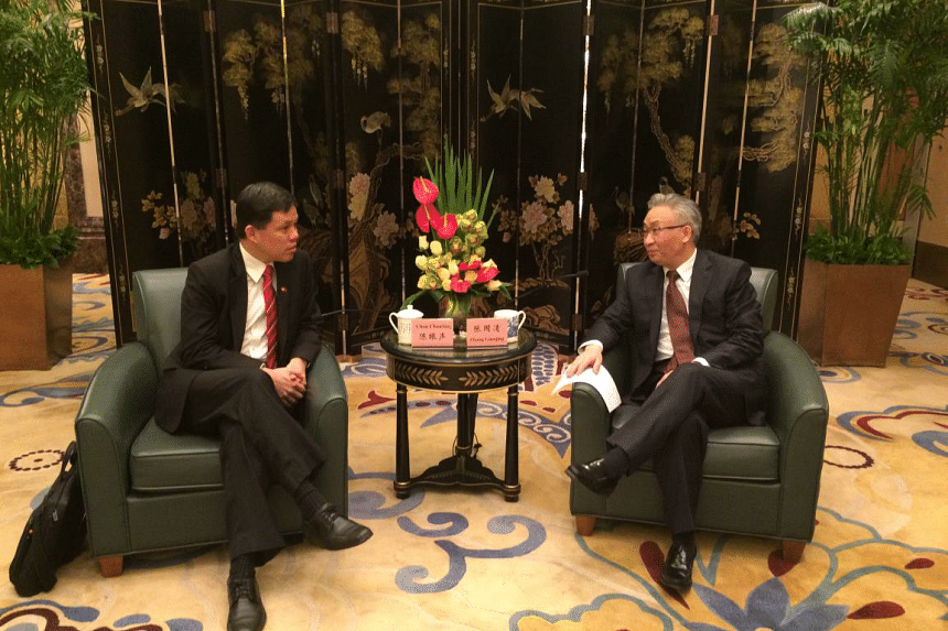 Minister in the Prime Minister's Office Chan Chun Sing met Chongqing Mayor Zhang Guoqing in Beijing, on Feb 26, 2017.