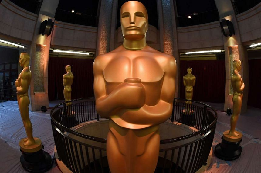 An Oscars statue stands at the end of the red carpet arrivals area ahead of the 89th annual Oscars at the Dolby Theater in Hollywood on Feb 25, 2017.