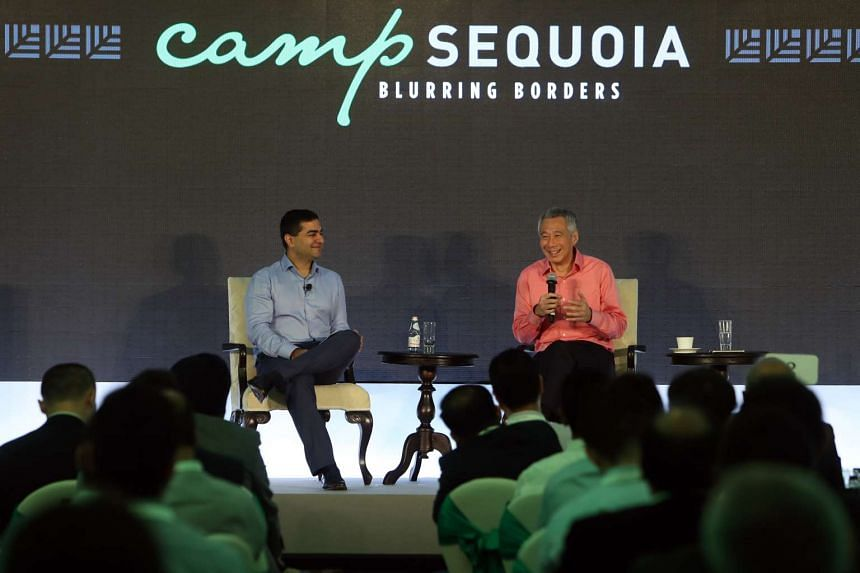Prime Minister Lee Hsien Loong (right) and Mr Shailendra Singh, Sequoia's managing director, at the dialogue on Feb 24, 2017.