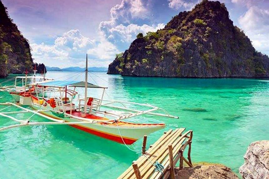 A boat at the dock in Palawan Island, which is located in the Philippines.