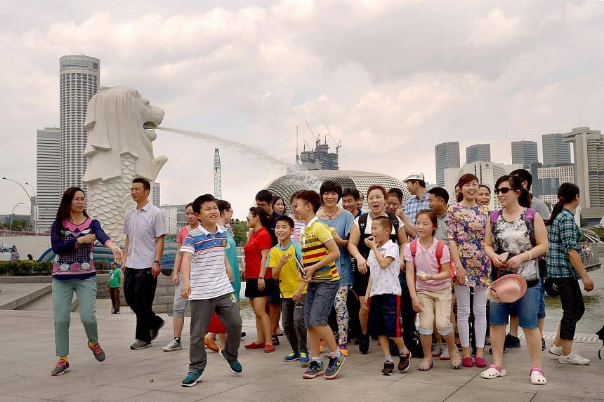 A group of tourists from China at the Merlion Park on Feb 5, 2014.