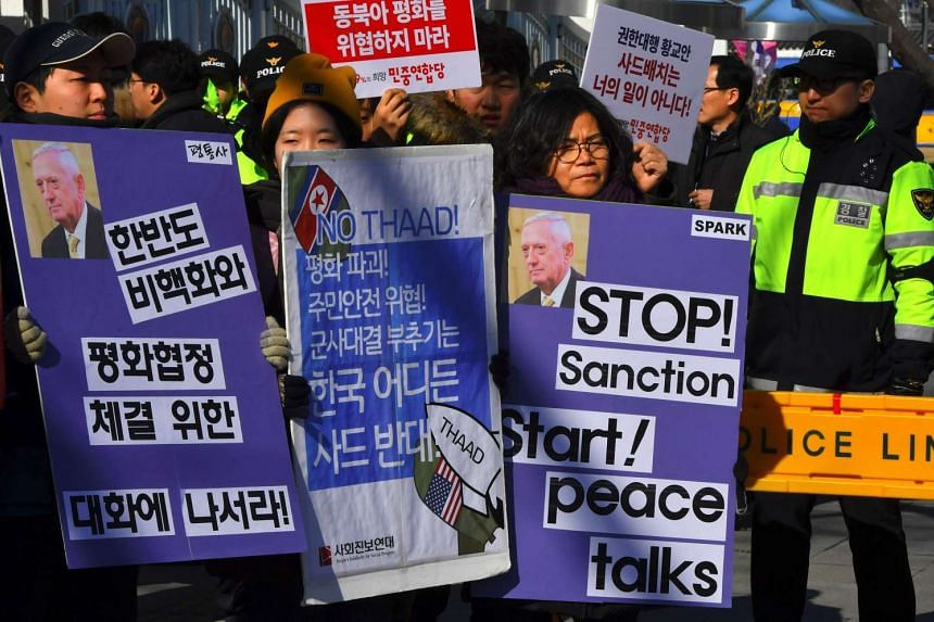 South Korean anti-war activists rally against the visit of the US Defense Secretary James Mattis in Seoul on Feb 2, 2017 as they denounce the planned deployment of the US-built Terminal High Altitude Area Defense.