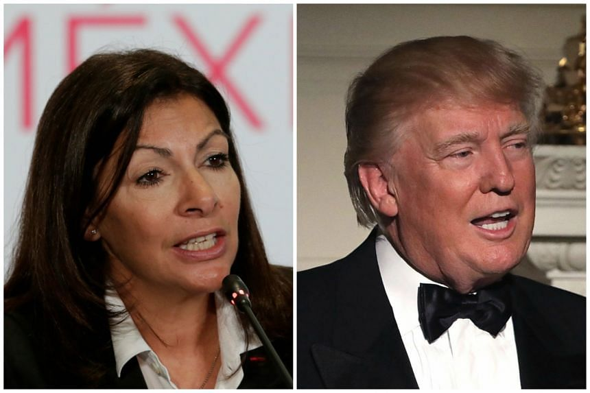 Paris Mayor Anne Hidalgo (left) slammed disparaging comments by US president Donald Trump (right) about the French capital and immigration policies in Europe.