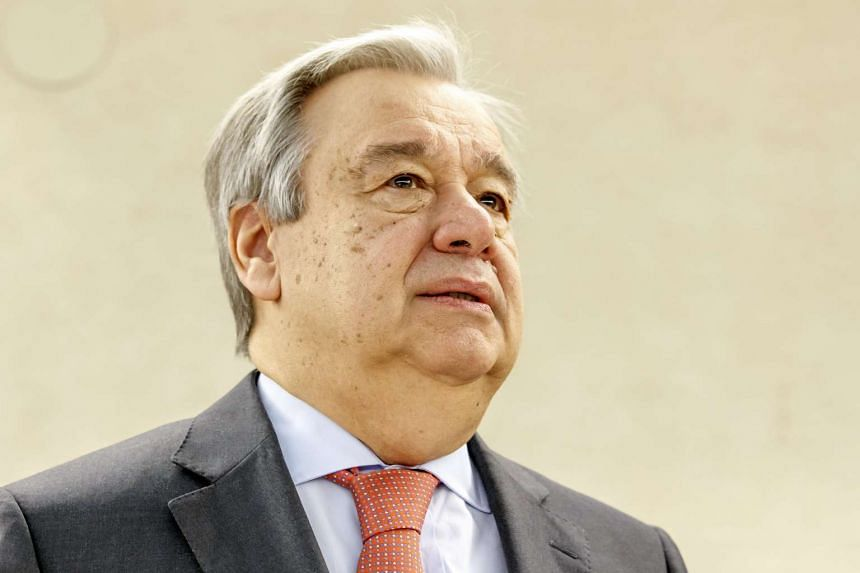 UN Secretary-General Antonio Guterres waits prior the opening of the High-Level Segment of the 34th session of the Human Rights Council, at the European headquarters of the UN in Geneva, on Feb 27, 2017.
