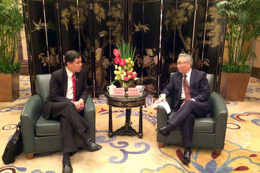 Minister in the Prime Minister's Office Chan Chun Sing (left) met with Chongqing Mayor Zhang Guoqing on Sunday (Feb 26) in Beijing.