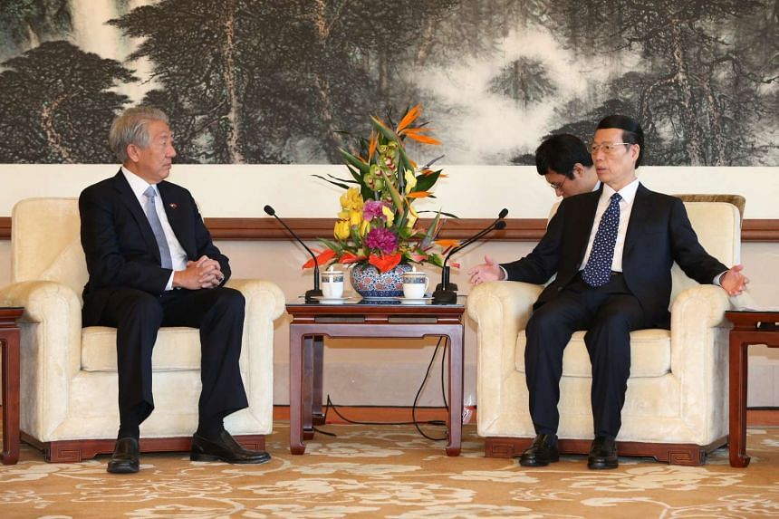 Deputy Prime Minister Teo Chee Hean meets China's Vice-Premier Zhang Gaoli at the Diaoyutai State Guesthouse on Monday, Feb 27, 2017.
