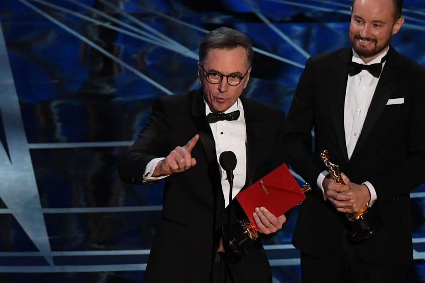 "Kevin O'Connell delivers a speech on stage after he won the Best Sound Mixing award for ""Hacksaw Ridge"" at the 89th Oscars on Feb 26, 2017 in Hollywood, California."
