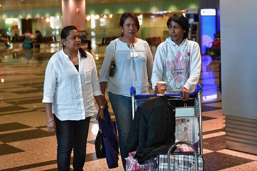 Mrs Irene Clennell with her sisters, Lily Anthony (middle) and Juspin Anthony (left) at Changi Airport on Feb 27, 2017.