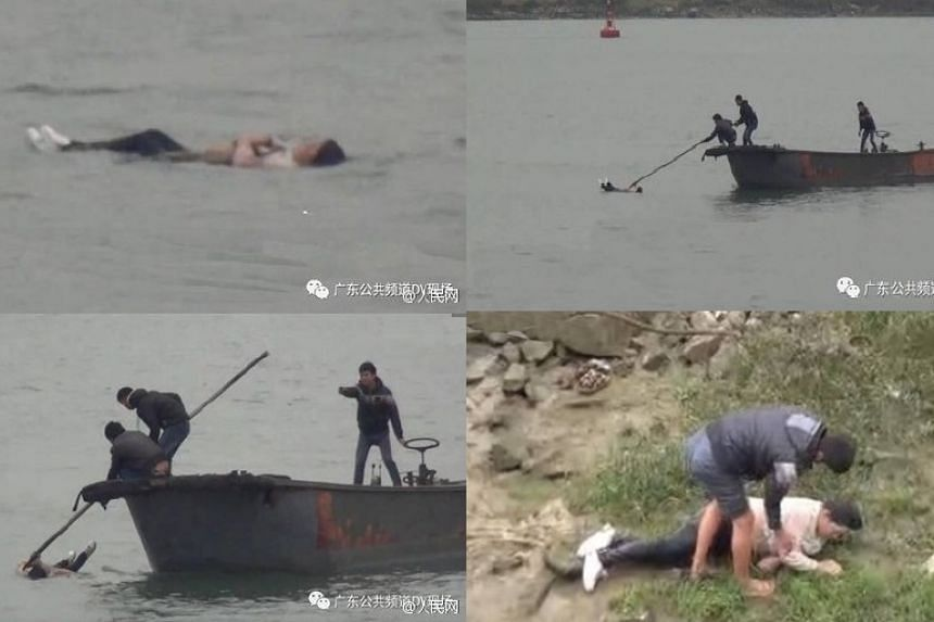 The woman did not sink and instead was rescued by fishermen.