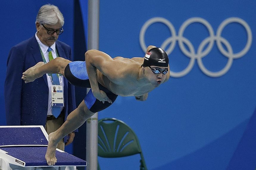 Joseph Schooling in action at last year's Rio Olympics. After an excellent show in the Big 12 Conference competition, he will work out with coach Eddie Reese on how to tackle the NCAA meet next month.