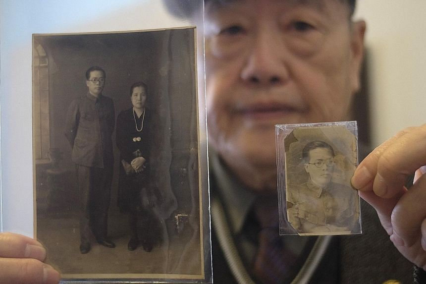 Mr Pan with photos of his late parents. His father was killed during the White Terror, a period of suppression during which the KMT government tortured and shot dead as many as 30,000 people. The Zhong Zheng Auditorium, Jie Shi Exhibition Hall and ot