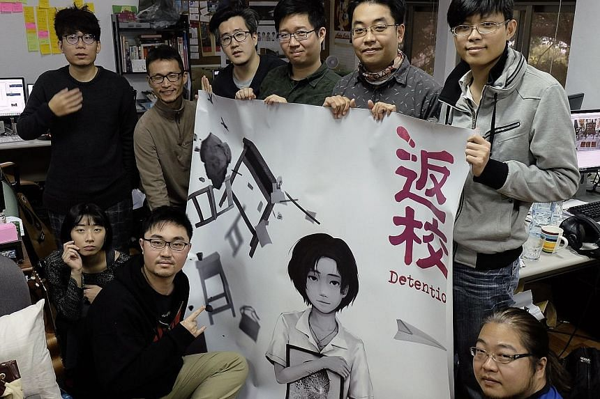 Developers from Red Candle Games, the company behind the video game Detention, including co-founder Yao Shuen-ting (standing, second from right).