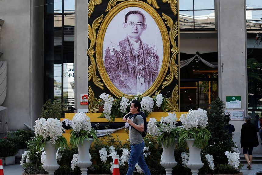 The photo of Thailand's late King Bhumibol Adulyadej outside a shopping mall in Bangkok on Jan 20, 2017.