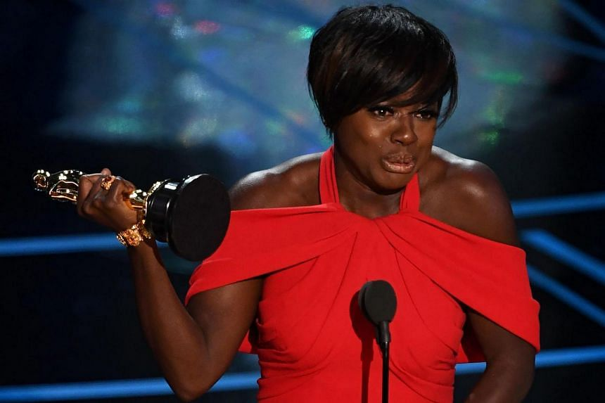 US actress Viola Davis delivering a speech on stage after winning the Best Supporting Actress award at the 89th Oscars on Sunday (Feb 26) in Hollywood, California.
