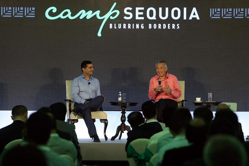 Mr Shailendra Singh (left), Managing Director of Sequoia Capital India and PM Lee Hsien Loong.