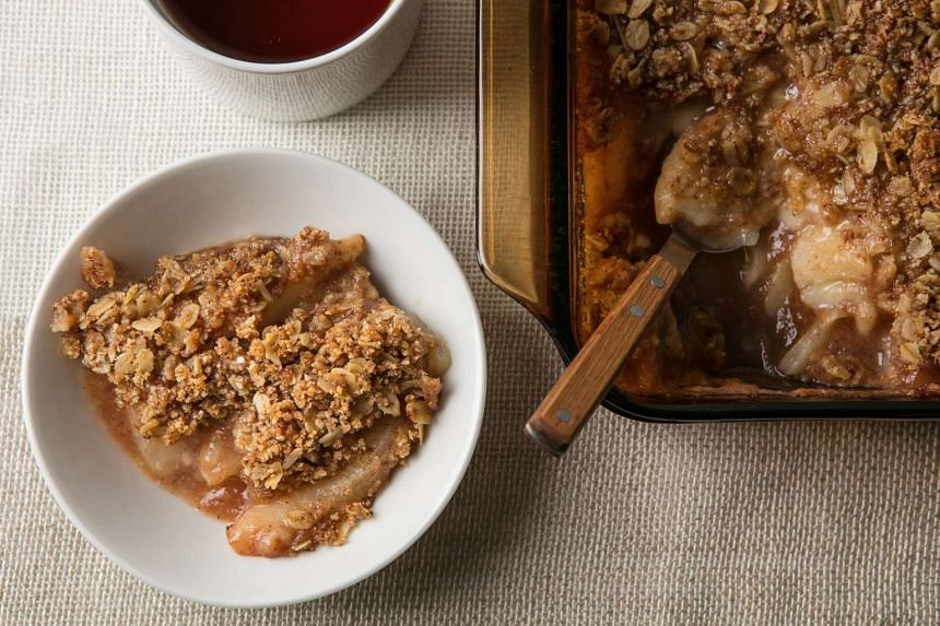 A pear crumble's homey aroma fills your kitchen as it bakes so you can't help but smile with anticipation.