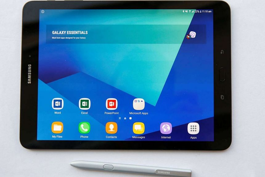 The new Samsung tablet S3 is displayed at  the Mobile World Congress on Sunday (Feb 23, 2017).