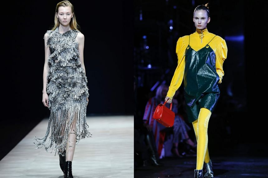 Models in Annakiki (left), by Anna Yang; and Xu Zhi (right), by Xuzhi Chen, at Milan's fashion week.