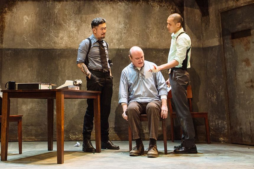 (Above from left) Adrian Pang, Daniel Jenkins and Shane Mardjuki in The Pillowman.