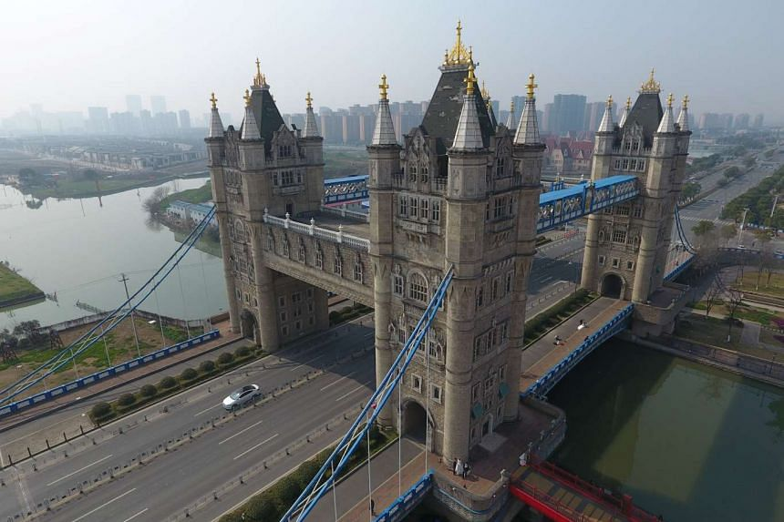 A look-alike of London's Tower Bridge is seen in Suzhou, Jiangsu province, China, Feb 25, 2017.
