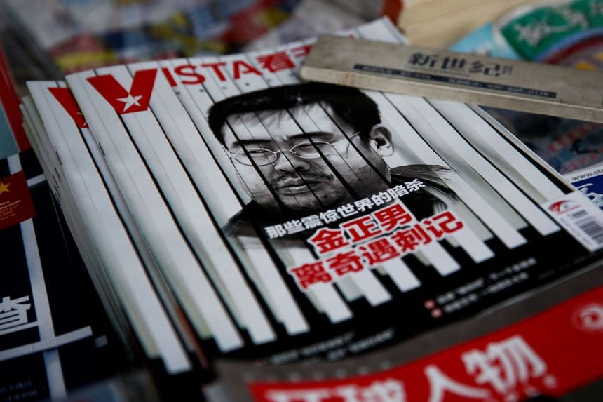 A magazine cover showing a picture of Kim Jong Nam is seen at a newsstand in Beijing, China.