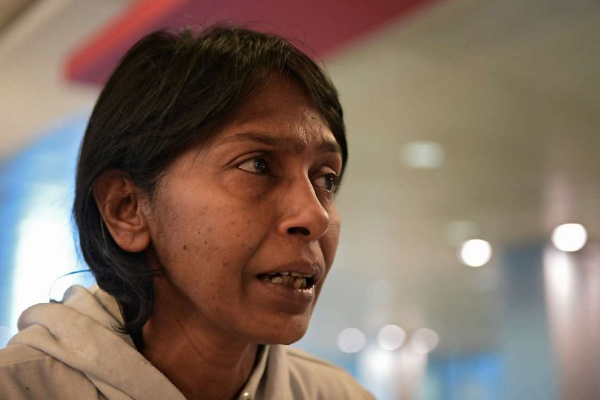 Irene Clennell pictured at Changi Airport on Feb 27, 2017, after being deported from Britain.