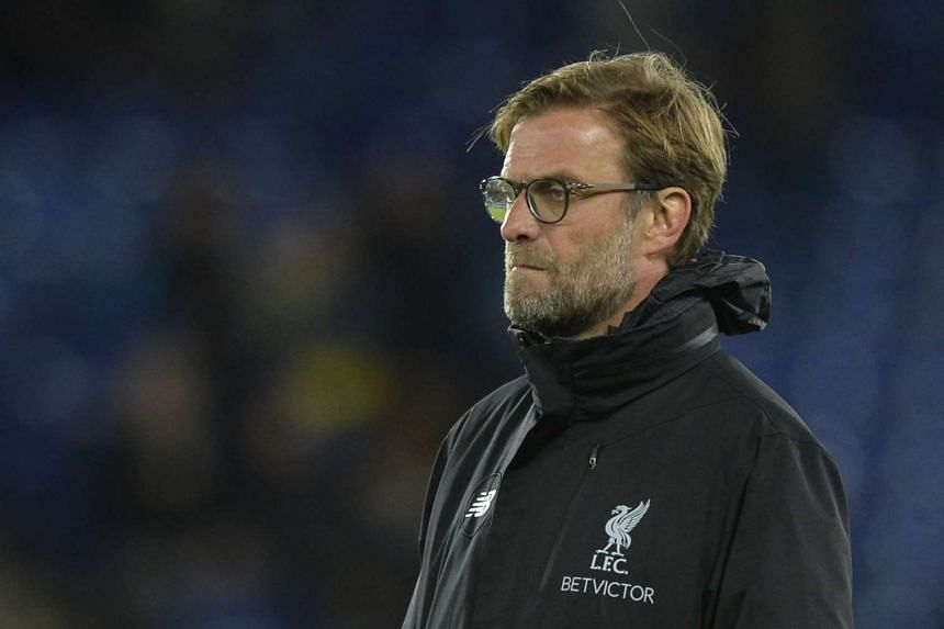 Liverpool manager Jurgen Klopp standing on the sidelines during his team's matach against Leicester City on Feb 27, 2017.