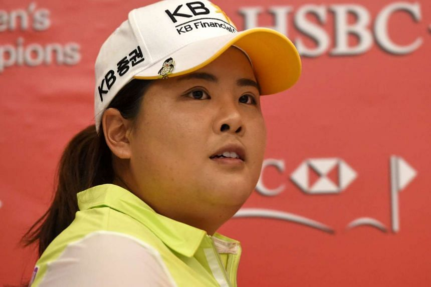 South Korean golfer Park In Bee speaking at a press conference in Singapore on Feb 28, 2017.